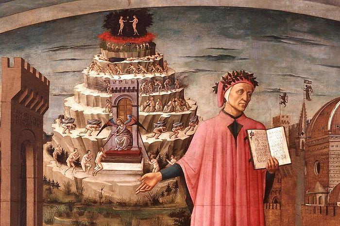 Данте Алигьери на фоне Чистилища. Фреска
