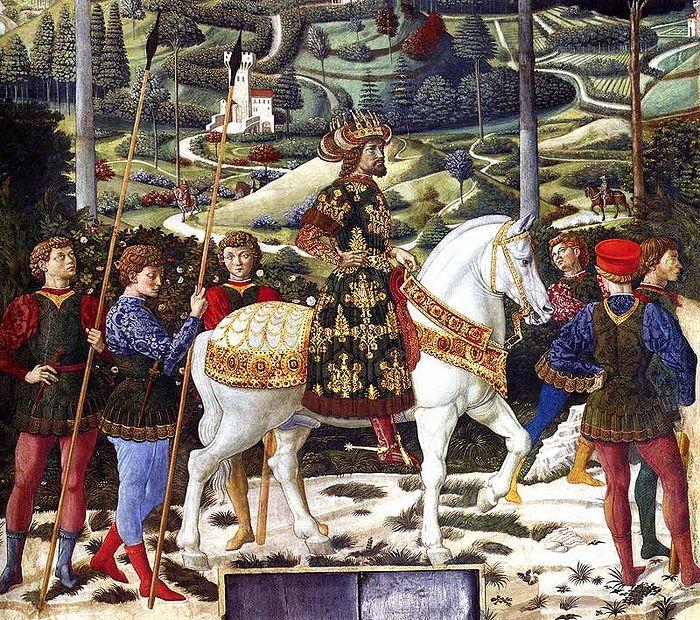 Император Ромеев Иоанн VIII. Фреска Беноццо Гоццоли в Капелле Волхвов, Флоренция
